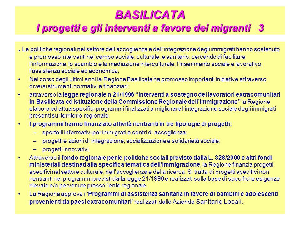 BASILICATA I progetti e gli interventi a favore dei migranti 3. Le politiche regionali nel settore dell'accoglienza e dell'integrazione degli immigrat