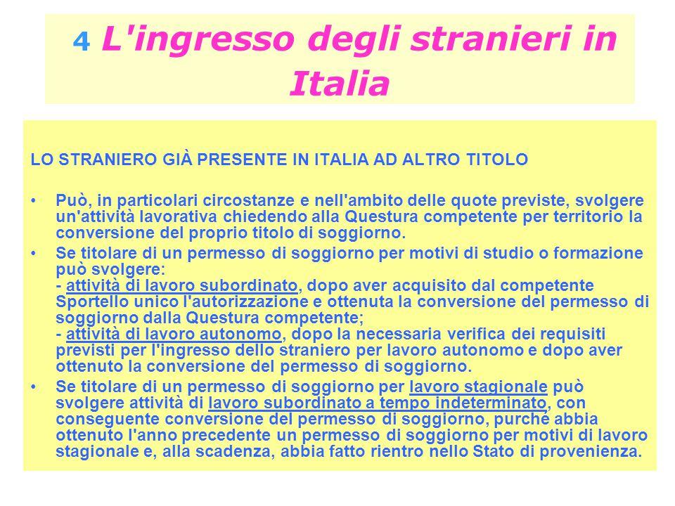 4 L'ingresso degli stranieri in Italia LO STRANIERO GIÀ PRESENTE IN ITALIA AD ALTRO TITOLO Può, in particolari circostanze e nell'ambito delle quote p