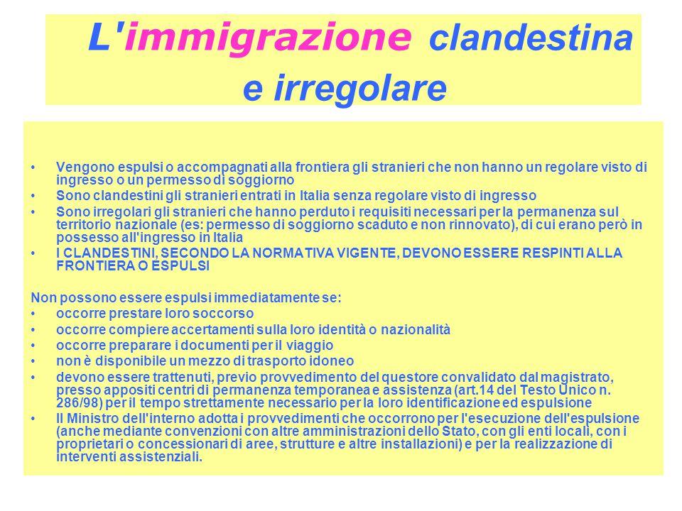 L immigrazione clandestina e irregolare Vengono espulsi o accompagnati alla frontiera gli stranieri che non hanno un regolare visto di ingresso o un permesso di soggiorno Sono clandestini gli stranieri entrati in Italia senza regolare visto di ingresso Sono irregolari gli stranieri che hanno perduto i requisiti necessari per la permanenza sul territorio nazionale (es: permesso di soggiorno scaduto e non rinnovato), di cui erano però in possesso all ingresso in Italia I CLANDESTINI, SECONDO LA NORMATIVA VIGENTE, DEVONO ESSERE RESPINTI ALLA FRONTIERA O ESPULSI Non possono essere espulsi immediatamente se: occorre prestare loro soccorso occorre compiere accertamenti sulla loro identità o nazionalità occorre preparare i documenti per il viaggio non è disponibile un mezzo di trasporto idoneo devono essere trattenuti, previo provvedimento del questore convalidato dal magistrato, presso appositi centri di permanenza temporanea e assistenza (art.14 del Testo Unico n.