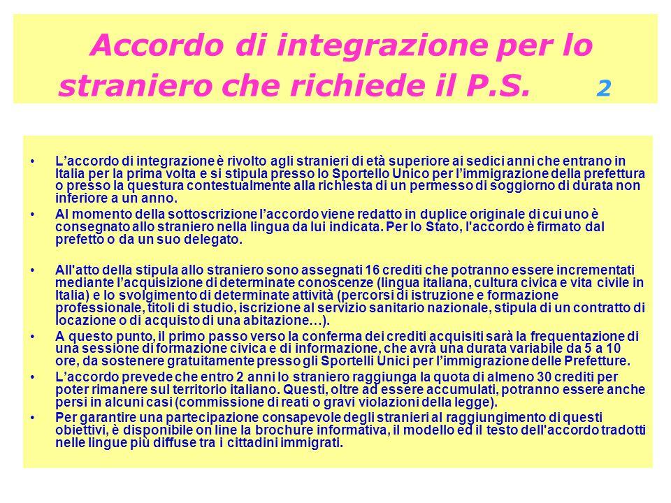 Accordo di integrazione per lo straniero che richiede il P.S.