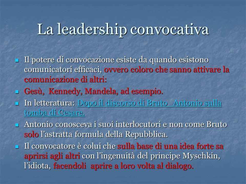 La leadership convocativa Il potere di convocazione esiste da quando esistono comunicatori efficaci, ovvero coloro che sanno attivare la comunicazione di altri: Il potere di convocazione esiste da quando esistono comunicatori efficaci, ovvero coloro che sanno attivare la comunicazione di altri: Gesù, Kennedy, Mandela, ad esempio.
