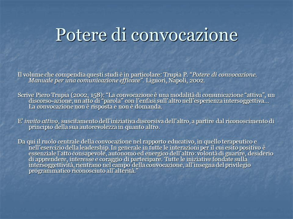 Potere di convocazione Il volume che compendia questi studi è in particolare: Trupia P.