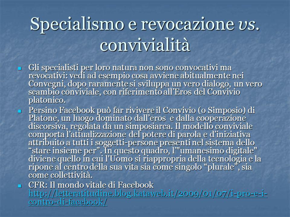 Specialismo e revocazione vs.