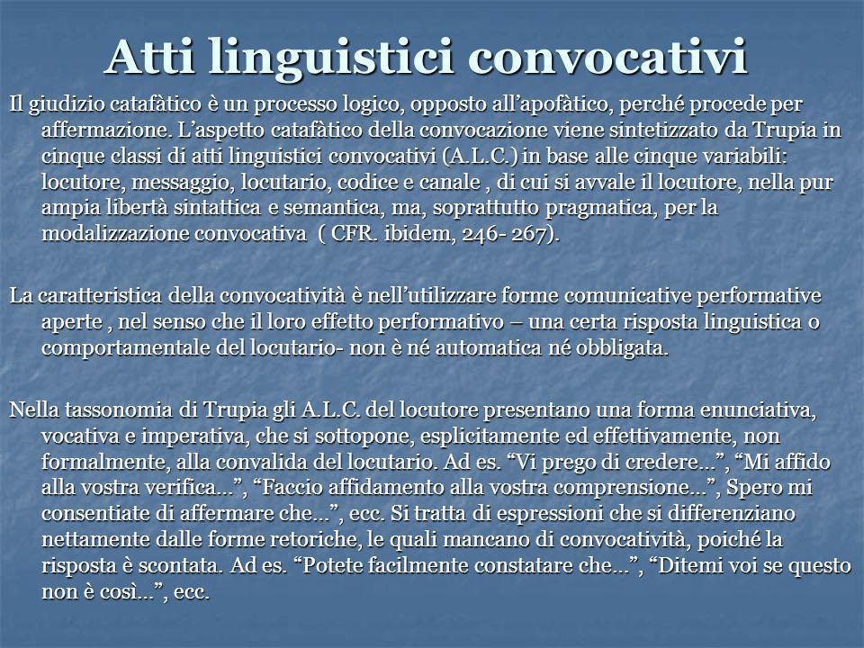 Atti linguistici convocativi Il giudizio catafàtico è un processo logico, opposto all'apofàtico, perché procede per affermazione.