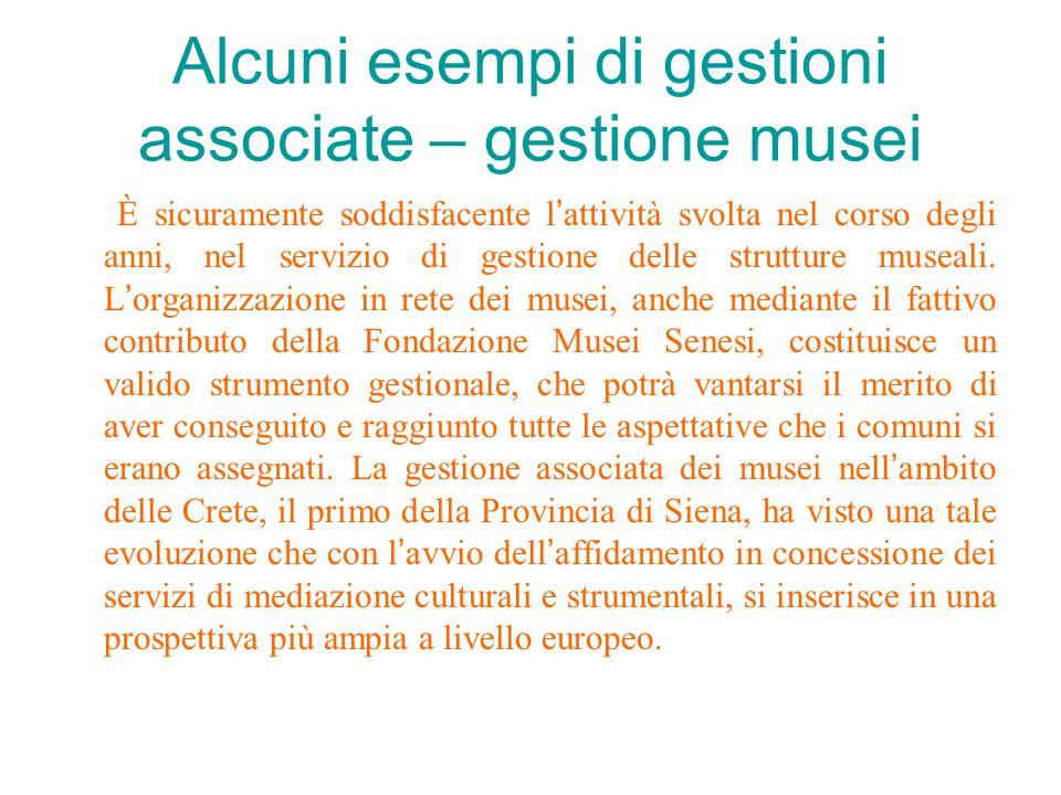 Alcuni esempi di gestioni associate – gestione musei È sicuramente soddisfacente l ' attività svolta nel corso degli anni, nel servizio di gestione delle strutture museali.