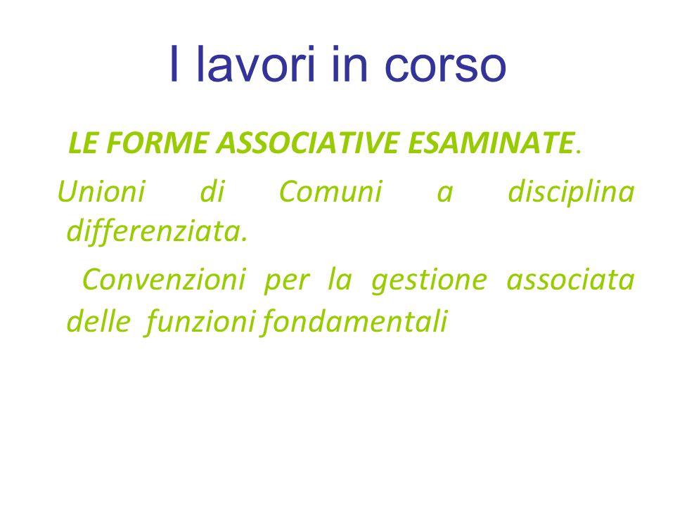 I lavori in corso LE FORME ASSOCIATIVE ESAMINATE. Unioni di Comuni a disciplina differenziata.
