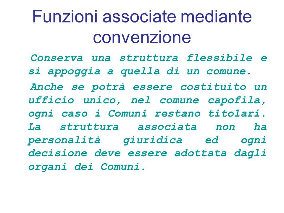 Funzioni associate mediante convenzione Conserva una struttura flessibile e si appoggia a quella di un comune.