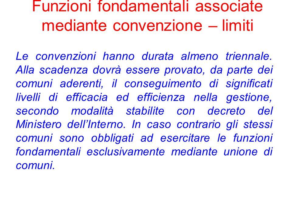 Funzioni fondamentali associate mediante convenzione – limiti Le convenzioni hanno durata almeno triennale.