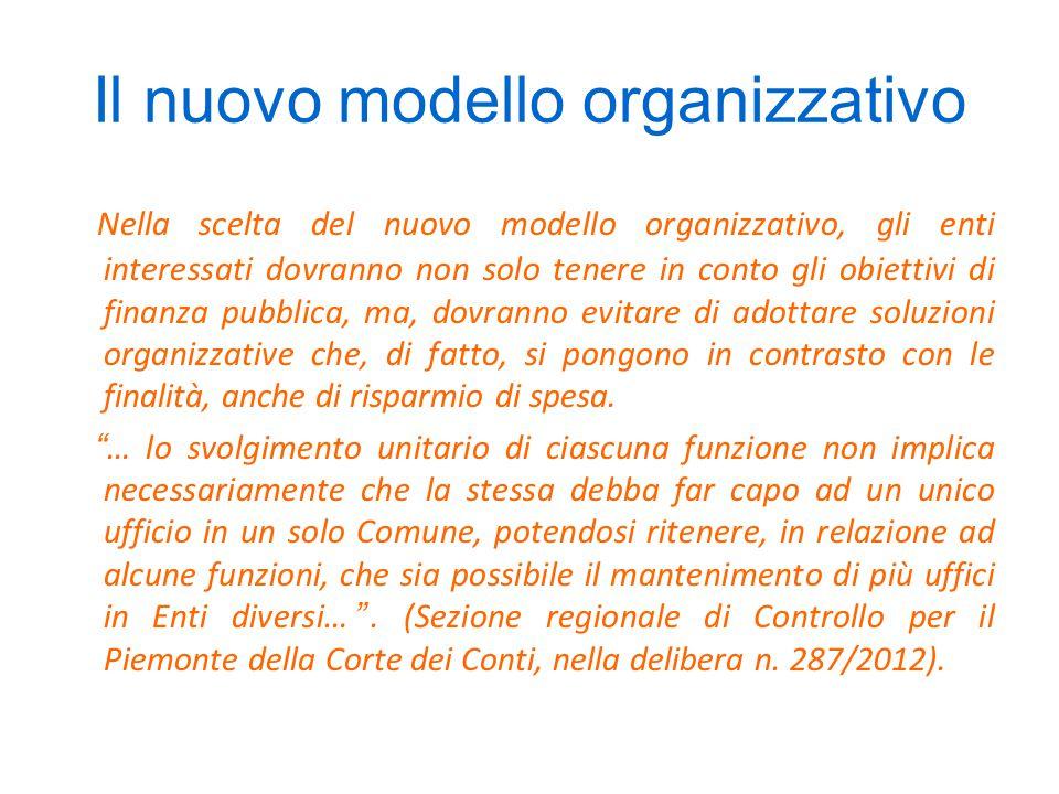 Il nuovo modello organizzativo Nella scelta del nuovo modello organizzativo, gli enti interessati dovranno non solo tenere in conto gli obiettivi di finanza pubblica, ma, dovranno evitare di adottare soluzioni organizzative che, di fatto, si pongono in contrasto con le finalità, anche di risparmio di spesa.