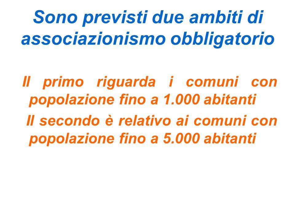 Sono previsti due ambiti di associazionismo obbligatorio Il primo riguarda i comuni con popolazione fino a 1.000 abitanti Il secondo è relativo ai comuni con popolazione fino a 5.000 abitanti