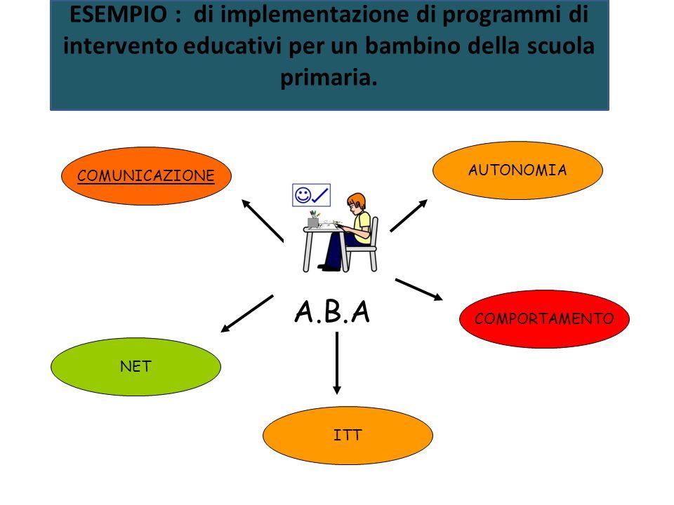 A.B.A COMUNICAZIONE AUTONOMIA COMPORTAMENTO ITT NET ESEMPIO : di implementazione di programmi di intervento educativi per un bambino della scuola prim