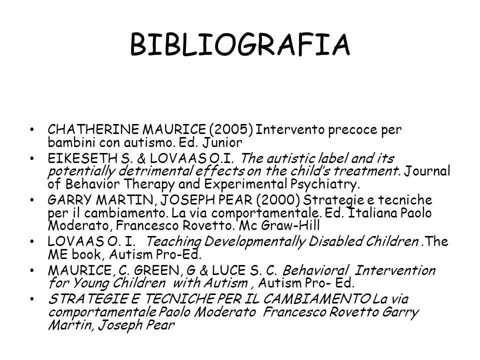 BIBLIOGRAFIA CHATHERINE MAURICE (2005) Intervento precoce per bambini con autismo. Ed. Junior EIKESETH S. & LOVAAS O.I. The autistic label and its pot
