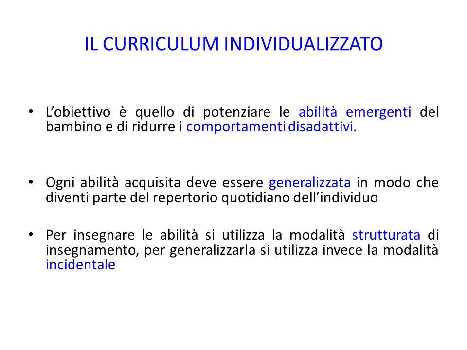 IL CURRICULUM INDIVIDUALIZZATO abilità emergenti comportamenti disadattivi. L'obiettivo è quello di potenziare le abilità emergenti del bambino e di r