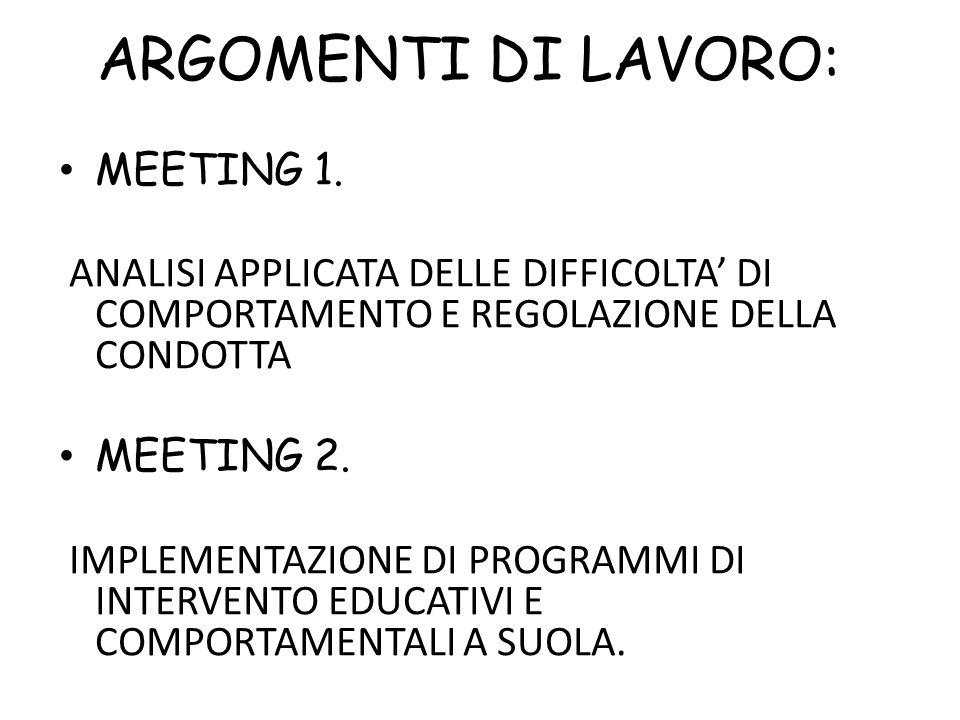 ARGOMENTI DI LAVORO: MEETING 1. ANALISI APPLICATA DELLE DIFFICOLTA' DI COMPORTAMENTO E REGOLAZIONE DELLA CONDOTTA MEETING 2. IMPLEMENTAZIONE DI PROGRA