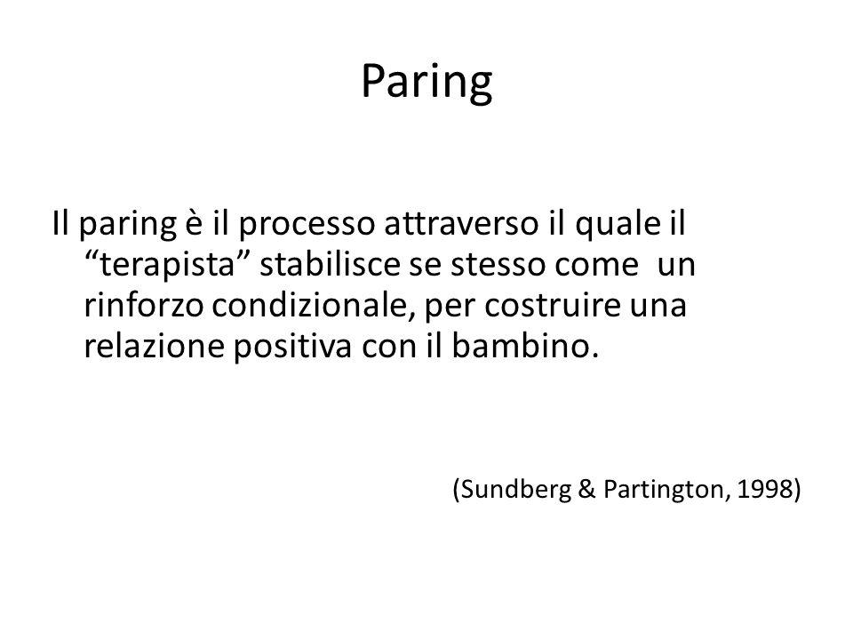 """Paring Il paring è il processo attraverso il quale il """"terapista"""" stabilisce se stesso come un rinforzo condizionale, per costruire una relazione posi"""