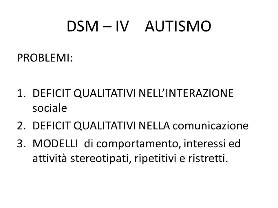 DSM – IV AUTISMO PROBLEMI: 1.DEFICIT QUALITATIVI NELL'INTERAZIONE sociale 2.DEFICIT QUALITATIVI NELLA comunicazione 3.MODELLI di comportamento, intere