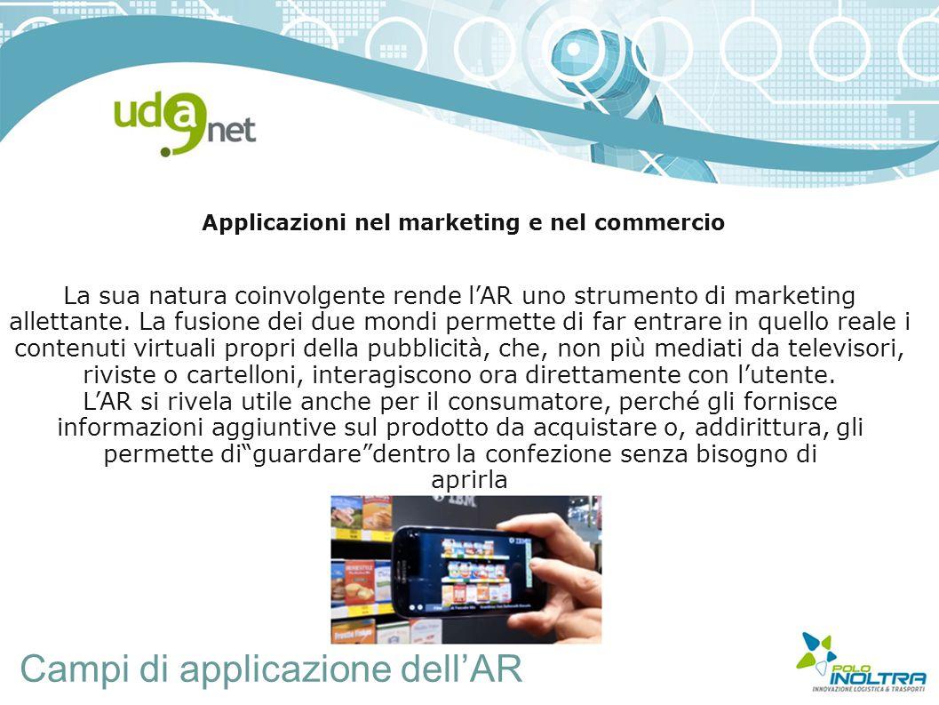 Campi di applicazione dell'AR Applicazioni nel marketing e nel commercio La sua natura coinvolgente rende l'AR uno strumento di marketing allettante.