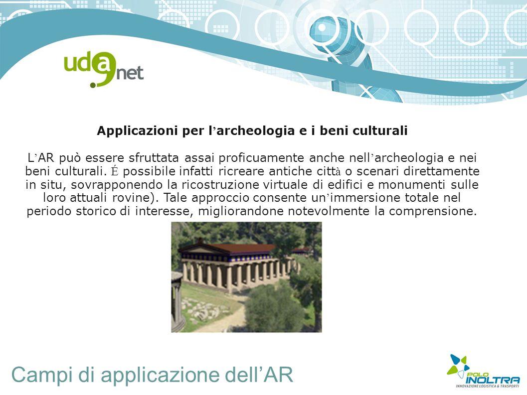Campi di applicazione dell'AR Applicazioni per l ' archeologia e i beni culturali L ' AR può essere sfruttata assai proficuamente anche nell ' archeologia e nei beni culturali.