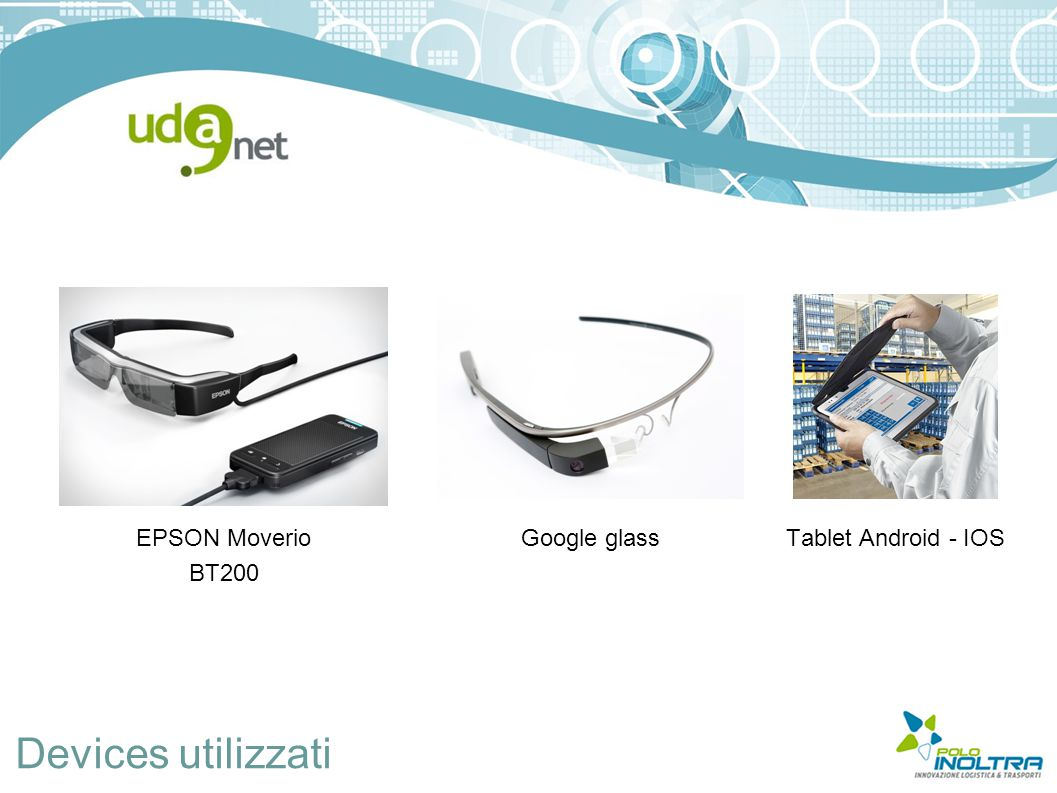 Devices utilizzati EPSON Moverio BT200 Google glassTablet Android - IOS