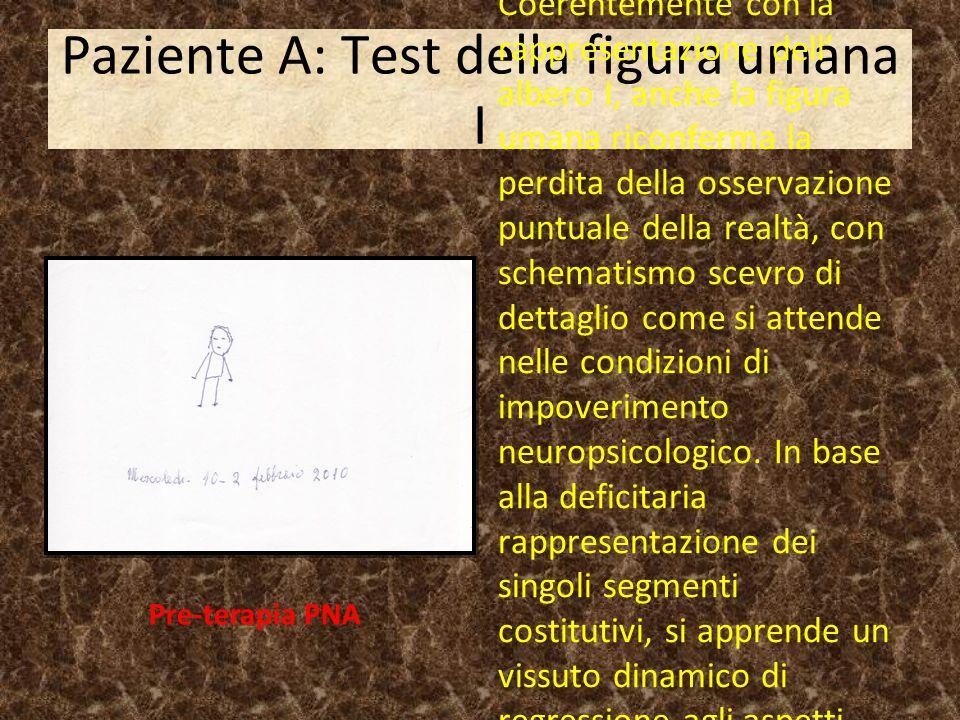 Paziente A: Test della figura umana I Coerentemente con la rappresentazione dell' albero I, anche la figura umana riconferma la perdita della osservaz