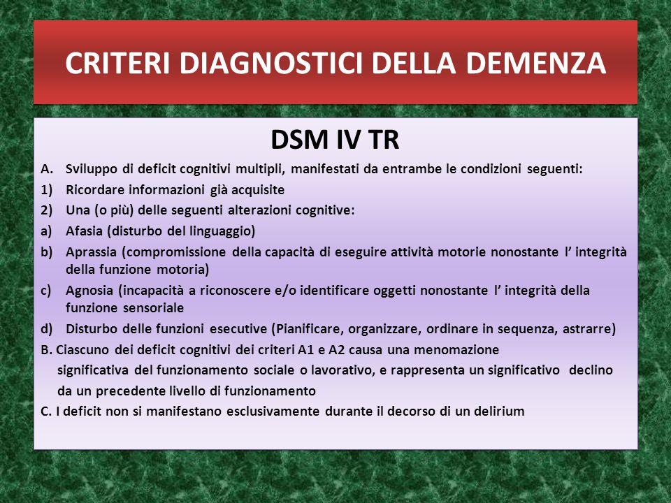 CRITERI DIAGNOSTICI DELLA DEMENZA DSM IV TR A.Sviluppo di deficit cognitivi multipli, manifestati da entrambe le condizioni seguenti: 1)Ricordare info
