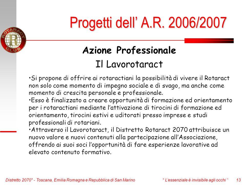 Distretto 2070° - Toscana, Emilia Romagna e Repubblica di San Marino 13 L'essenziale è invisibile agli occhi Azione Professionale Il Lavorotaract Progetti dell' A.R.