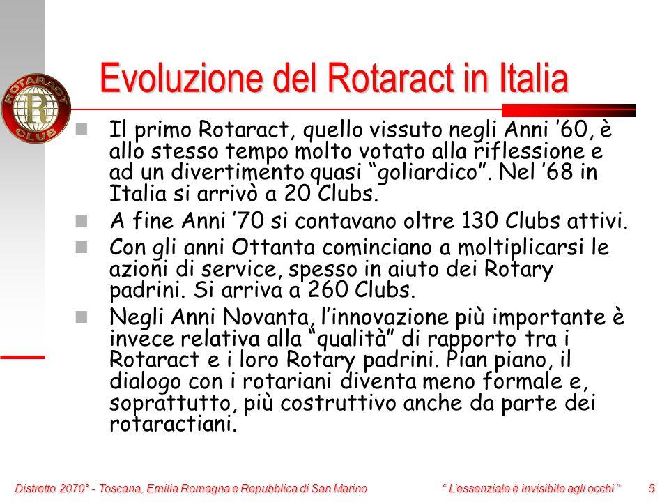 Distretto 2070° - Toscana, Emilia Romagna e Repubblica di San Marino 5 L'essenziale è invisibile agli occhi Il primo Rotaract, quello vissuto negli Anni '60, è allo stesso tempo molto votato alla riflessione e ad un divertimento quasi goliardico .