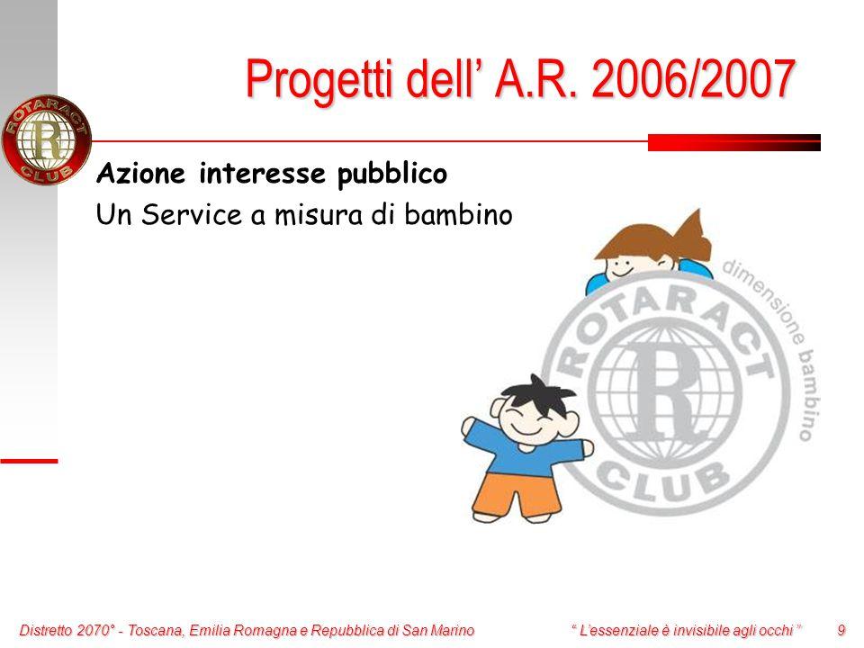 Distretto 2070° - Toscana, Emilia Romagna e Repubblica di San Marino 9 L'essenziale è invisibile agli occhi Progetti dell' A.R.