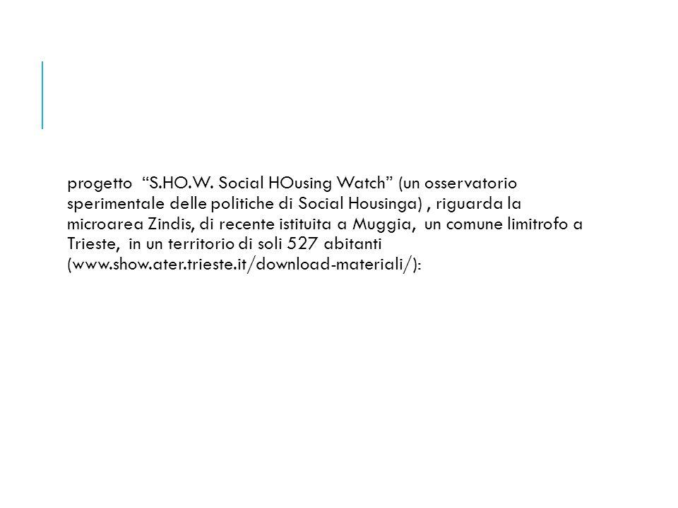 """progetto """"S.HO.W. Social HOusing Watch"""" (un osservatorio sperimentale delle politiche di Social Housinga), riguarda la microarea Zindis, di recente is"""