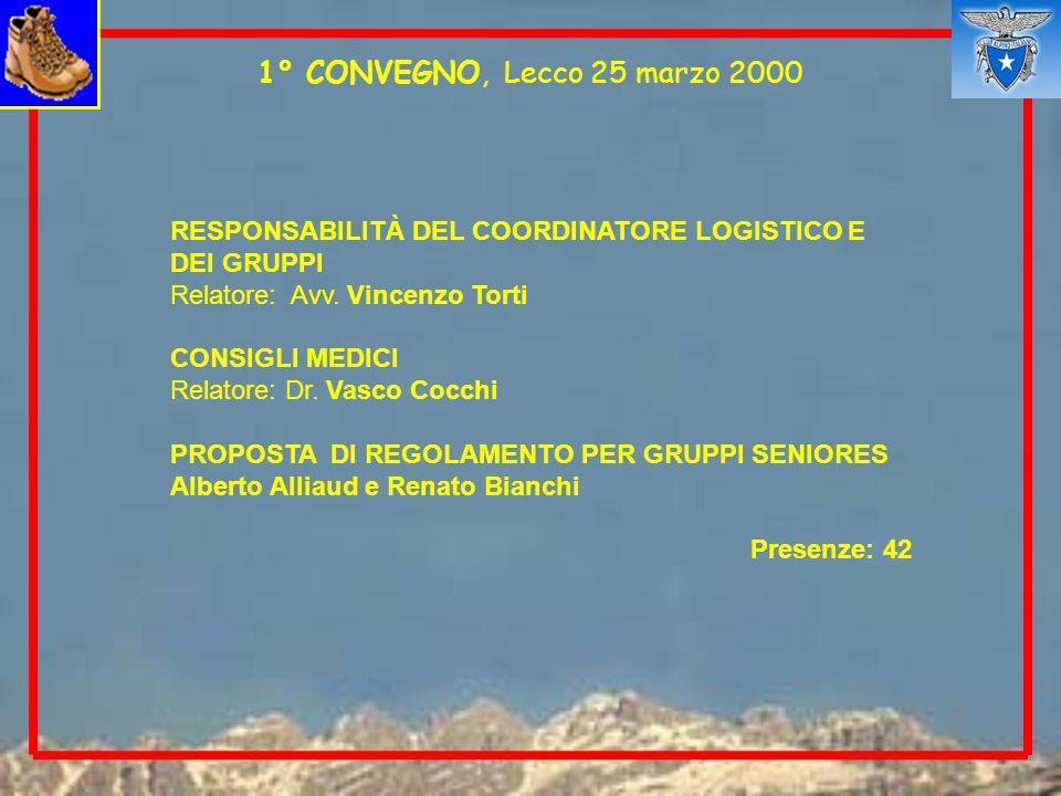1° CONVEGNO, Lecco 25 marzo 2000 RESPONSABILITÀ DEL COORDINATORE LOGISTICO E DEI GRUPPI Relatore: Avv.