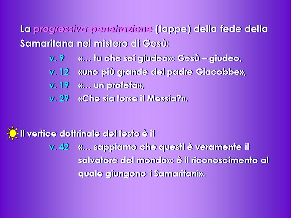 La progressiva penetrazione (tappe) della fede della Samaritana nel mistero di Gesù: v.