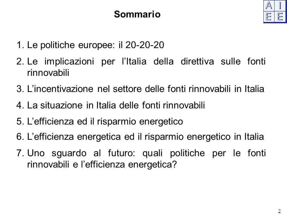 1.Le politiche europee: il 20-20-20 2.Le implicazioni per l'Italia della direttiva sulle fonti rinnovabili 3.L'incentivazione nel settore delle fonti