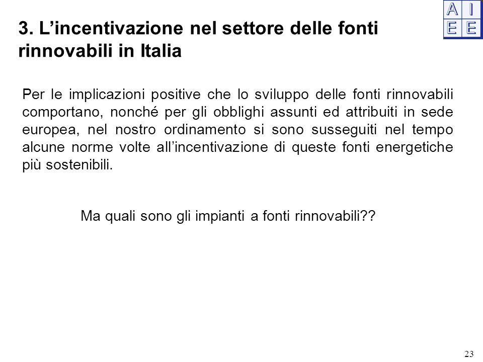 3. L'incentivazione nel settore delle fonti rinnovabili in Italia Per le implicazioni positive che lo sviluppo delle fonti rinnovabili comportano, non