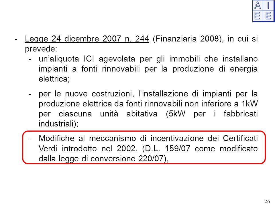 -Legge 24 dicembre 2007 n. 244 (Finanziaria 2008), in cui si prevede: -un'aliquota ICI agevolata per gli immobili che installano impianti a fonti rinn