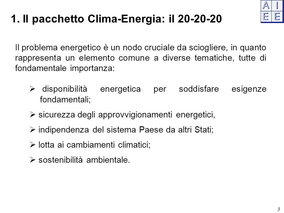 3 1. Il pacchetto Clima-Energia: il 20-20-20 Il problema energetico è un nodo cruciale da sciogliere, in quanto rappresenta un elemento comune a diver