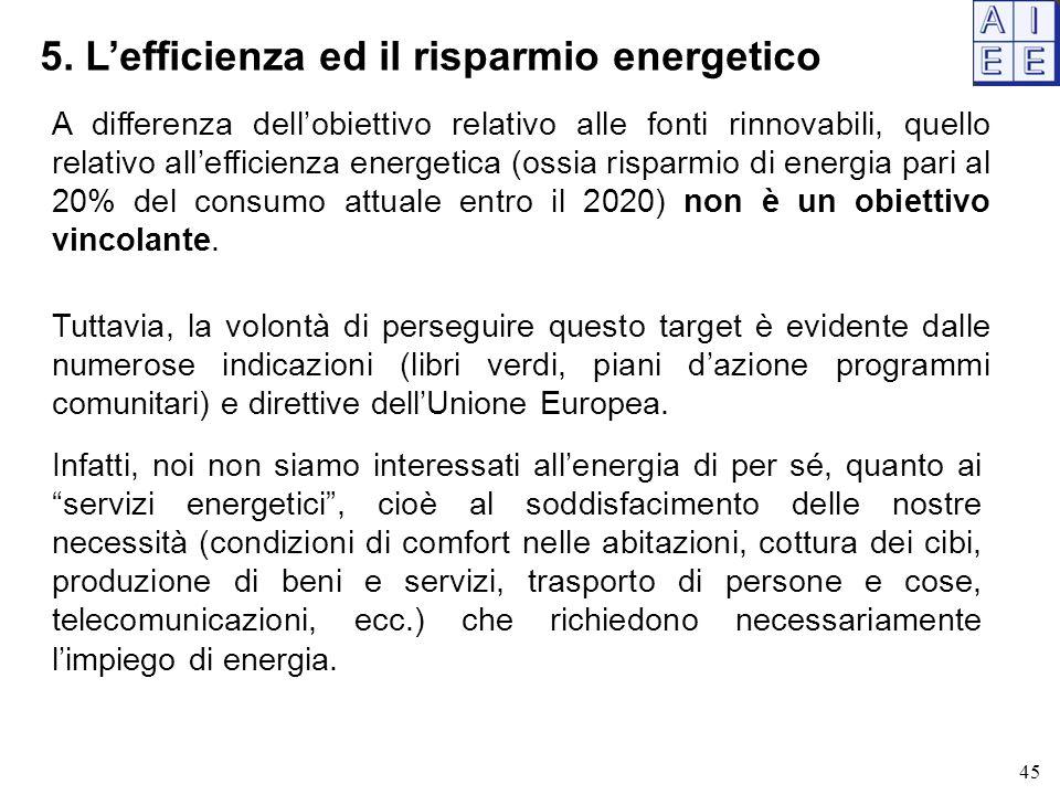 5. L'efficienza ed il risparmio energetico 45 A differenza dell'obiettivo relativo alle fonti rinnovabili, quello relativo all'efficienza energetica (