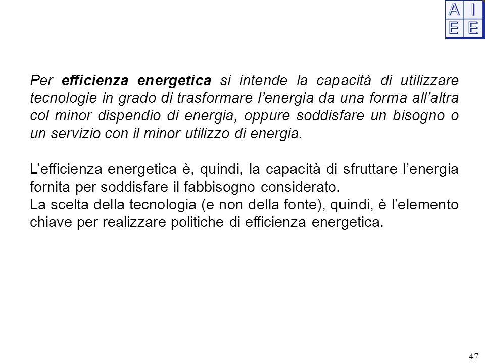 Per efficienza energetica si intende la capacità di utilizzare tecnologie in grado di trasformare l'energia da una forma all'altra col minor dispendio