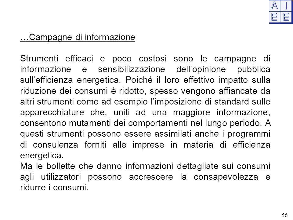 …Campagne di informazione Strumenti efficaci e poco costosi sono le campagne di informazione e sensibilizzazione dell'opinione pubblica sull'efficienz