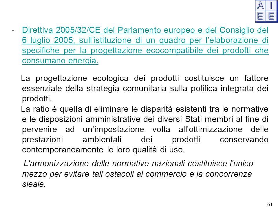 -Direttiva 2005/32/CE del Parlamento europeo e del Consiglio del 6 luglio 2005, sull'istituzione di un quadro per l'elaborazione di specifiche per la progettazione ecocompatibile dei prodotti che consumano energia.Direttiva 2005/32/CE del Parlamento europeo e del Consiglio del 6 luglio 2005, sull'istituzione di un quadro per l'elaborazione di specifiche per la progettazione ecocompatibile dei prodotti che consumano energia.
