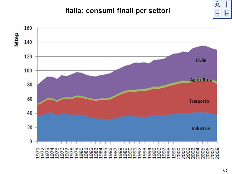Italia: consumi finali per settori 65