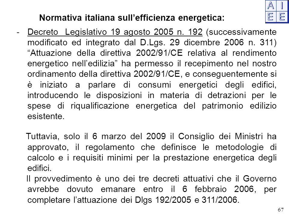 67 Normativa italiana sull'efficienza energetica: -Decreto Legislativo 19 agosto 2005 n. 192 (successivamente modificato ed integrato dal D.Lgs. 29 di