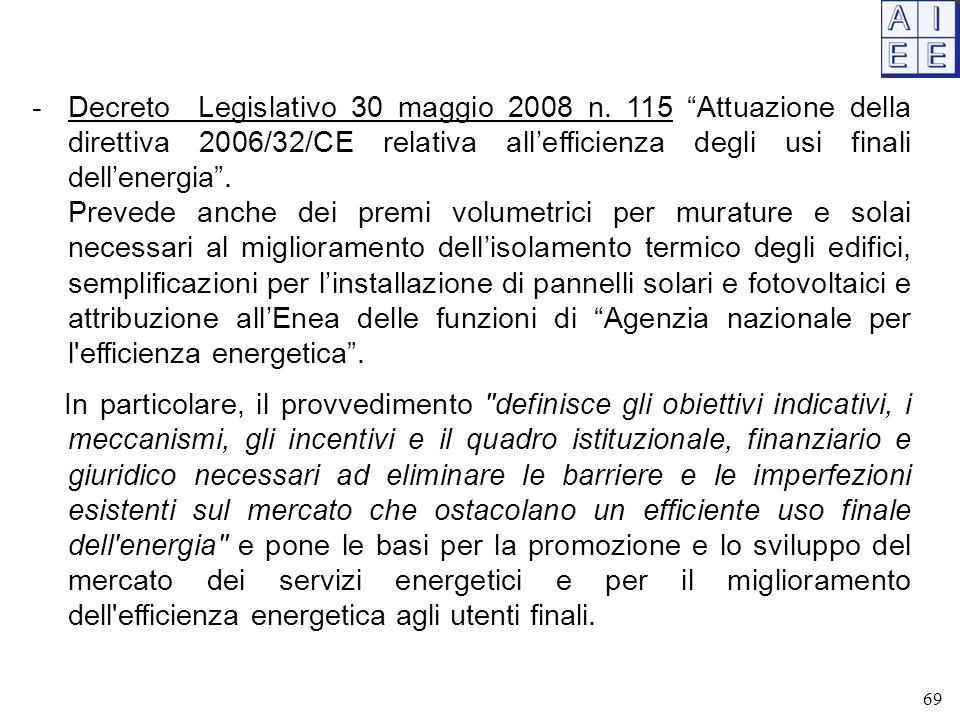 """-Decreto Legislativo 30 maggio 2008 n. 115 """"Attuazione della direttiva 2006/32/CE relativa all'efficienza degli usi finali dell'energia"""". Prevede anch"""