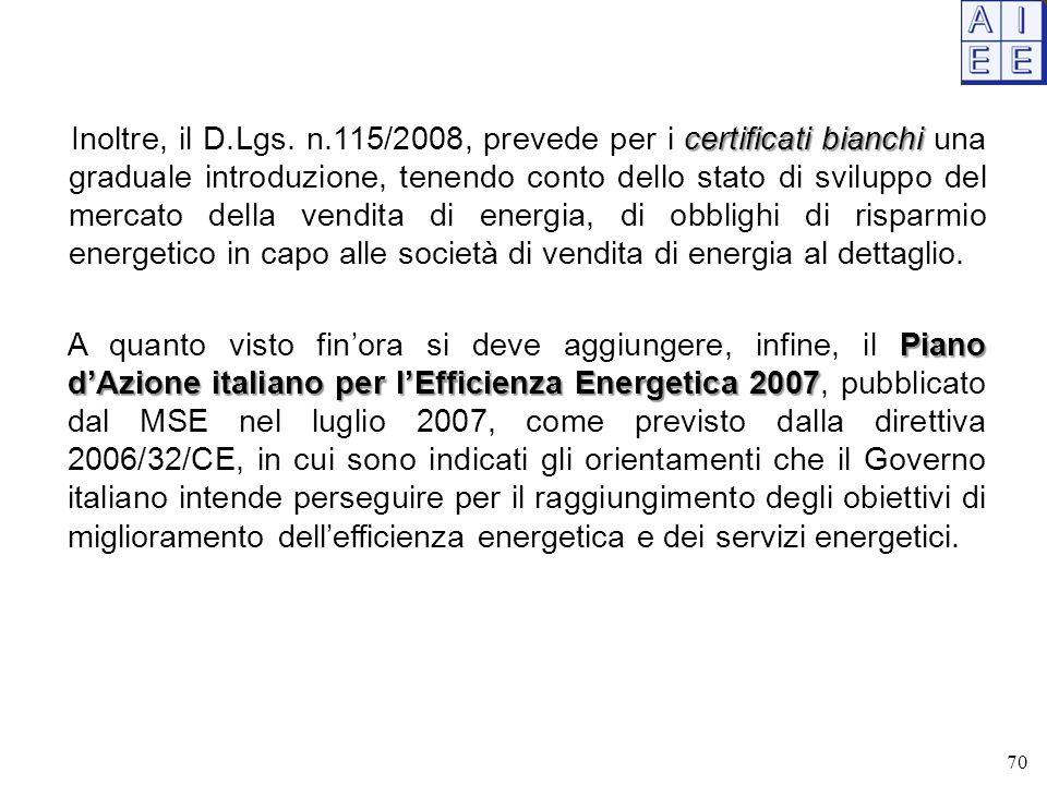 certificati bianchi Inoltre, il D.Lgs. n.115/2008, prevede per i certificati bianchi una graduale introduzione, tenendo conto dello stato di sviluppo
