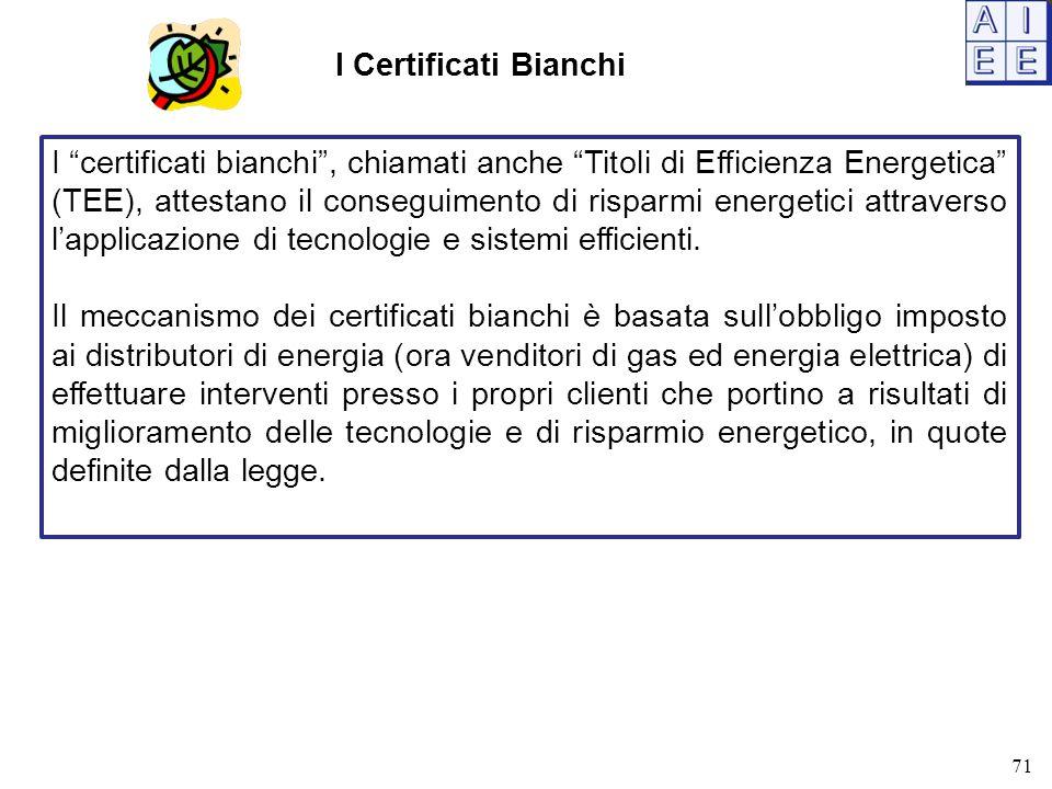 I Certificati Bianchi I certificati bianchi , chiamati anche Titoli di Efficienza Energetica (TEE), attestano il conseguimento di risparmi energetici attraverso l'applicazione di tecnologie e sistemi efficienti.