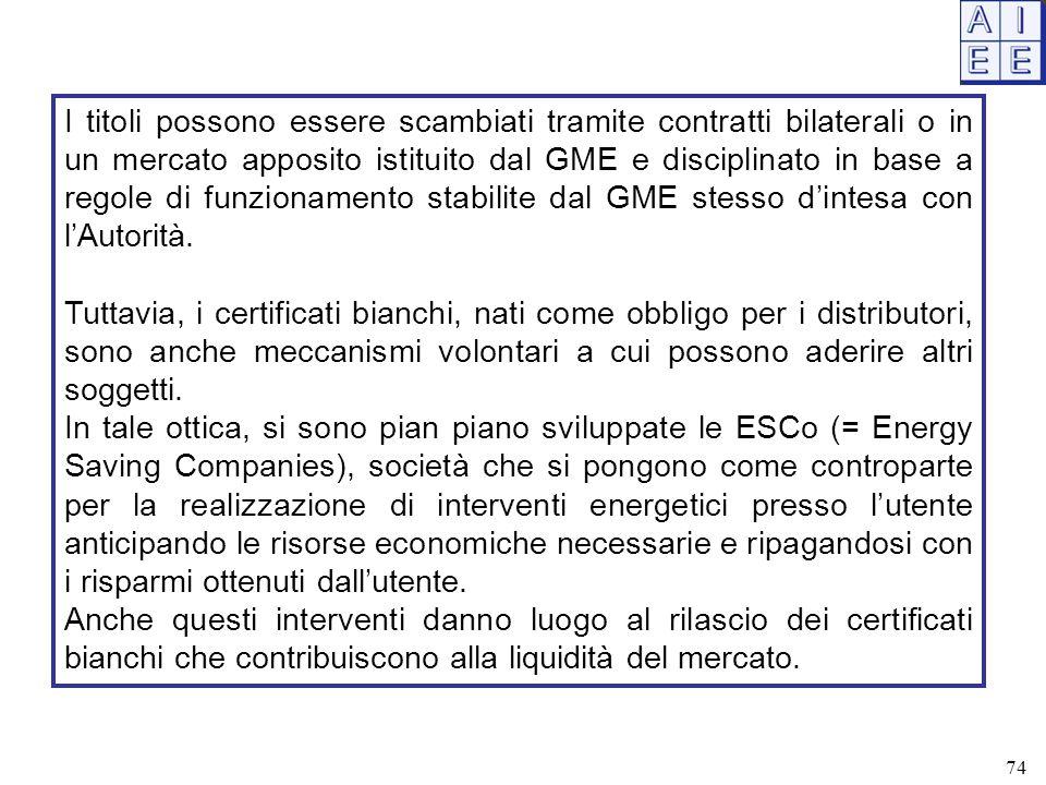 I titoli possono essere scambiati tramite contratti bilaterali o in un mercato apposito istituito dal GME e disciplinato in base a regole di funzionam