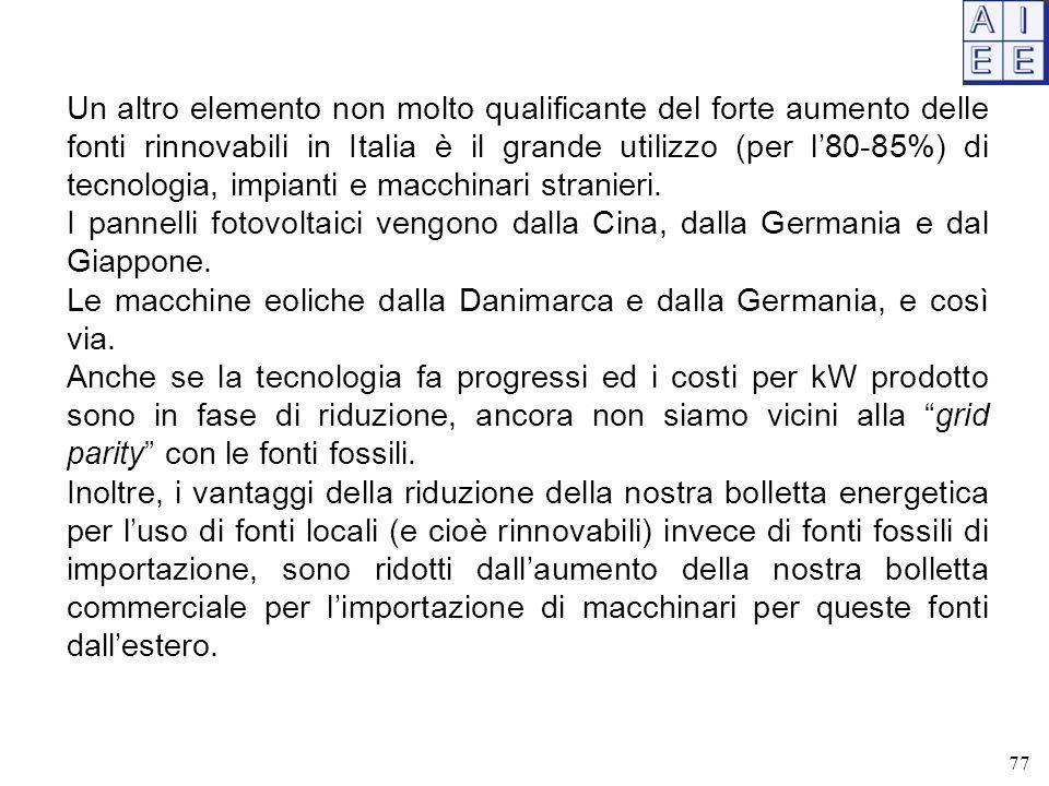 77 Un altro elemento non molto qualificante del forte aumento delle fonti rinnovabili in Italia è il grande utilizzo (per l'80-85%) di tecnologia, impianti e macchinari stranieri.