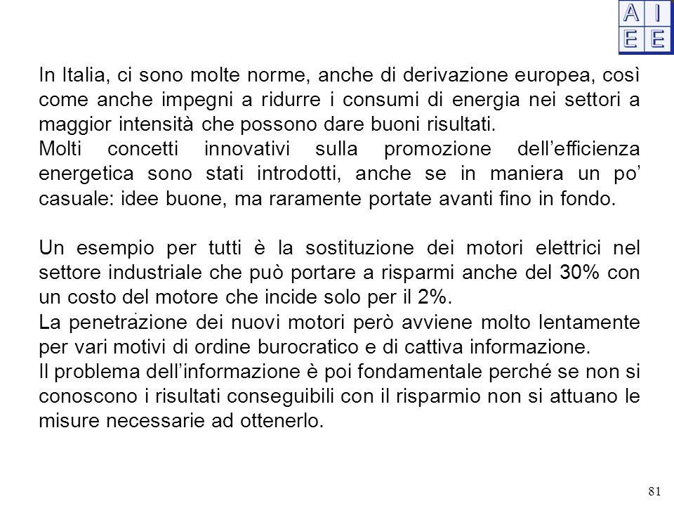 . In Italia, ci sono molte norme, anche di derivazione europea, così come anche impegni a ridurre i consumi di energia nei settori a maggior intensità