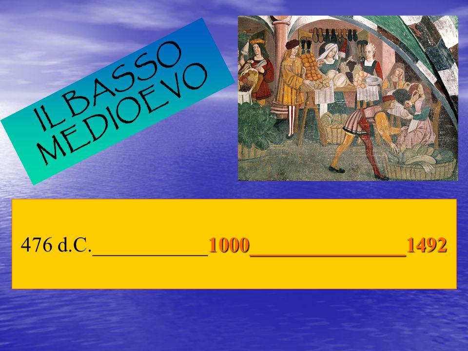 IL BASSO MEDIOEVO 1000_______________1492 476 d.C.___________1000_______________1492