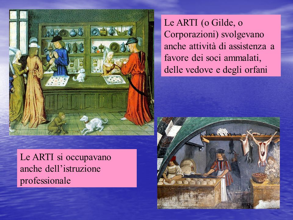 Le ARTI (o Gilde, o Corporazioni) svolgevano anche attività di assistenza a favore dei soci ammalati, delle vedove e degli orfani Le ARTI si occupavan
