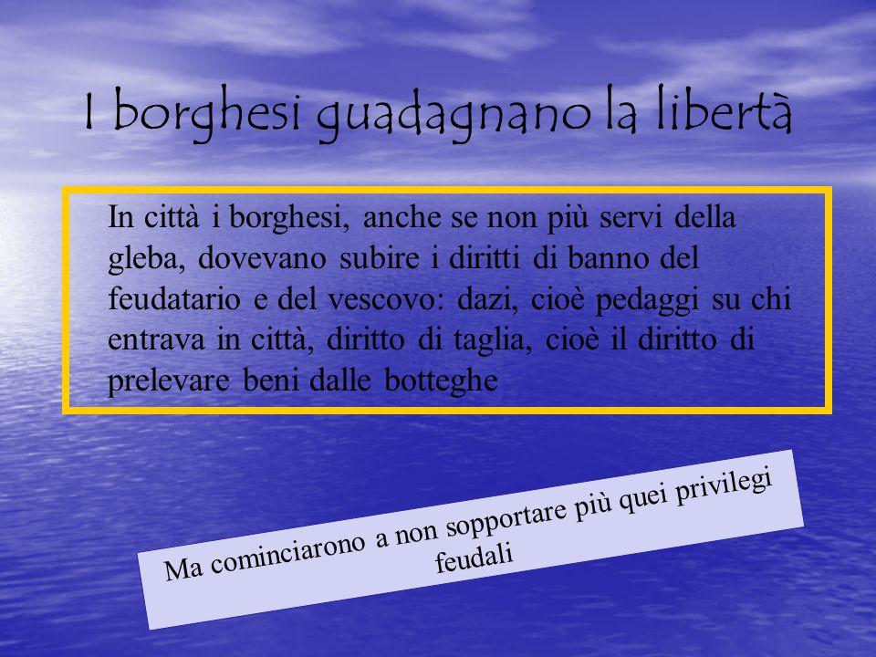 I borghesi guadagnano la libertà In città i borghesi, anche se non più servi della gleba, dovevano subire i diritti di banno del feudatario e del vesc